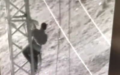 Israeli army security camera footage allegedly shows members of Hamas stealing electricity from power lines leading into the southern Gaza Strip on March 3, 2018. (Screen capture)