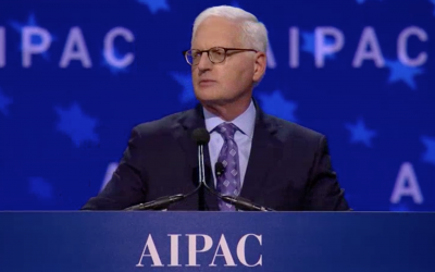 AIPAC's Executive Director Howard Kohr addresses the lobby's policy conference, March 4, 2018 (AIPAC screenshot)