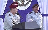 Outgoing head of Central Command Roni Numa (L) speaks at his exchange of command ceremony in East Jerusalem on March 7, 2018 as IDF Chief of Staff Gadi Eisenkot looks on. (Screen capture/Ynet)
