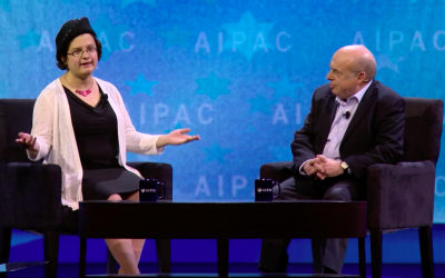 Rachel Sharansky Danziger interviews her father, Natan Sharansky, on stage at AIPAC 2018. (Video screenshot)