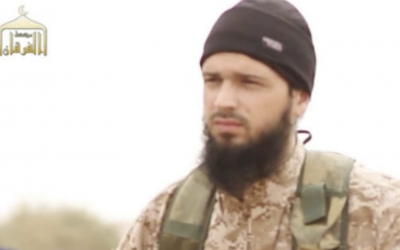 Maxime Hauchard, a French-born member of the Islamic State terrorist organization, appears in one of the group's videos in 2014. (Screen capture)
