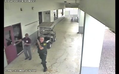 Security camera footage showing former deputy Scot Peterson did not enter Stoneman Douglas High School during a shooting there, in which 17 people were killed, on February 14, 2018. (Screen capture)