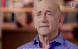 Former prime minister Ehud Olmert in a Keshet TV interview broadcast on March 17, 2018 (Keshet screenshot)