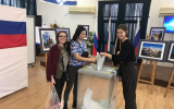 Russian citizens living in Israel voting at one of the 14 polling stations across the country, March 2018. (Facebook Embassy of Russia in Israel)
