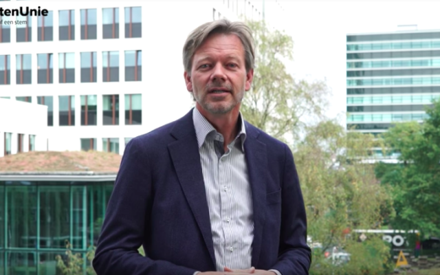 Dutch lawmaker from the Christian Union party, Joël Voordewind, speaks in a campaign video uploaded online October 17, 2016. (screen capture: YouTube)