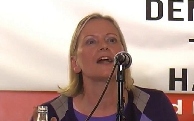 Screen capture from video of UK Labour party National Executive Committee member Christine Shawcroft. (YouTube)