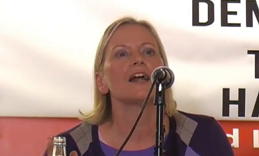 Screen capture from video of UK Labour party National Executive Committee member Christine Shawcroft