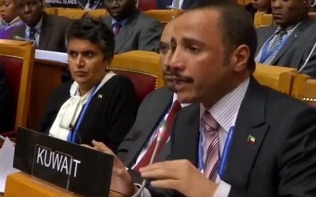 Kuwaiti parliament speaker Marzouq al Ghanim heckles Israeli parliamentarians during a gathering in Saint Petersburg, Russia, last October 2017 (screen capture: YouTube)