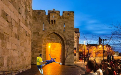 A computerized simulation of a planned soccer penalty shootout at Jaffa Gate in Jerusalem's Old City during the 2018 FIFA World Cup. (Courtesy: Kulna)