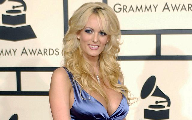 Stormy Daniels arrives at the 50th Annual Grammy Awards in Los Angeles, Feb. 10, 2008. (AP Photo/Chris Pizzello, File)