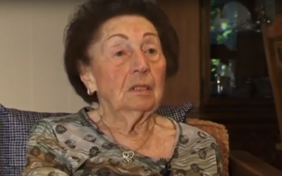 "Holocaust survivor Sala Kirschner in a trailer, published March 10, 2012, to a book about letters she concealed from the Nazis titled ""Sala's Gift."" (Screen capture: YouTube)"