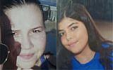 Israeli teens Dana Kordova (left) and Lior Malka, both 15, from Eilat, missing since Sunday evening, March 4, 2018. (Israel Police)