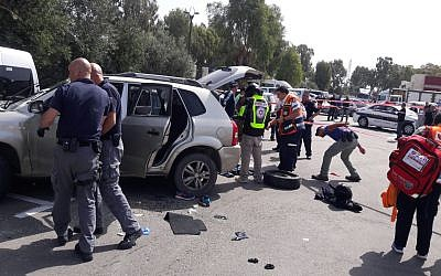 Scene of a suspected car-ramming attack in the northern-Israeli city of Acre on Sunday, March 4, 2018. (United Hatzalah)