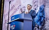 Zionist Union party leader Avi Gabbay addresses the pro-Israel US lobby AIPAC at its policy conference in Washington DC, March 4, 2018. (John Bowel)