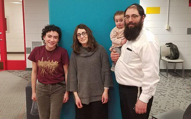 From left: Nesha Ruther, president of SJP at UW-Madison, Henya Matusof, and Rabbi Mendel Matusof, Chabad on campus representatives. (Courtesy Chabad UW-Madison)