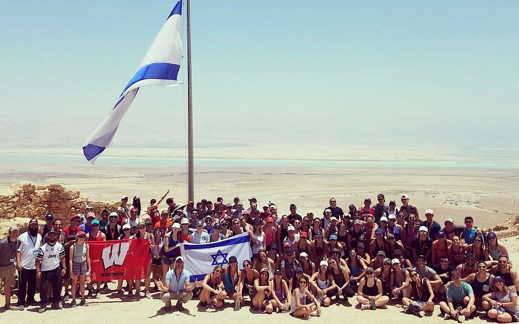 Students from the University of Wisconsin-Madison in Israel on a Birthright trip led by Chabad on campus. (Courtesy Chabad UW-Madison)
