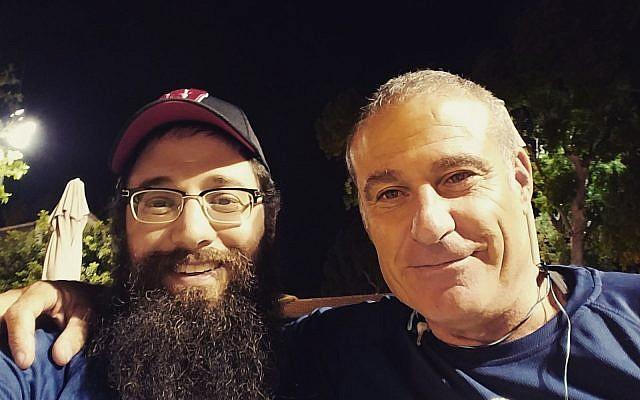 Rabbi Mendel Matusof, Chabad rabbi at University of Wisconsin-Madison, with Birthright CEO Gidi Mark. (Courtesy Chabad UW-Madison)