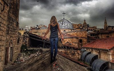 Sarah Tuttle-Singer on a rooftop in the Old City of Jerusalem (Courtesy)