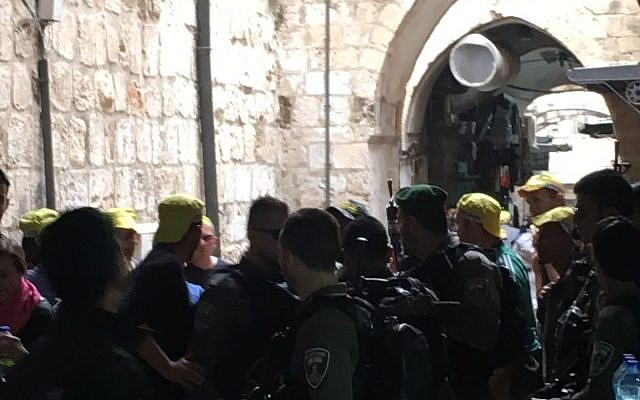 Security forces at the scene of a stabbing attack in the Old City of Jerusalem on March 18, 2018. (Ir Amim)