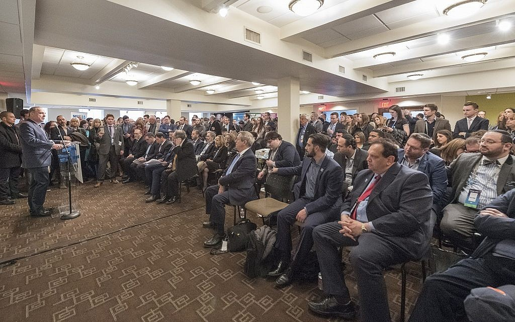 Hundreds of AIPAC policy conference delegates attend an event, away from the main conference, in support of the settlement movement in Washington, DC, March 5, 2018. (Courtesy: Yesha Council)