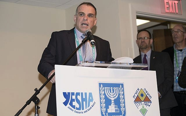 Yesha chief foreign envoy Oded Revivi speaks at the umbrella council's event in Washington, DC in support of the settlement movement on March 5, 2018. (Courtesy: Yesha Council)