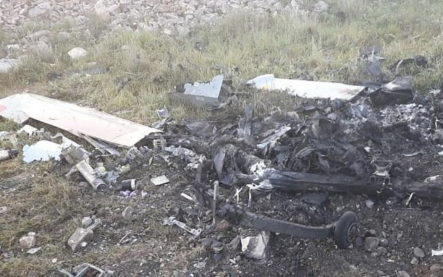 A photo on local media claims to show the crash site of an Israeli drone that went down in Lebanon, March 31, 2018 (screenshot)