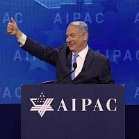 Benjamin Netanyahu at the AIPAC policy conference in Washington, DC, on March 6, 2018. (Screen capture: AIPAC)