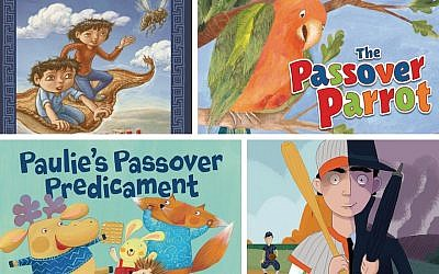 Clockwise, from top left, covers for 'Search for the Shamir' (Kar-Ben); 'The Passover Parrot' (Kar-Ben); 'The Spy Who Played Baseball' (Kar-Ben); and 'Paulie's Passover Predicament (Kar-Ben). (All cover art via JTA)
