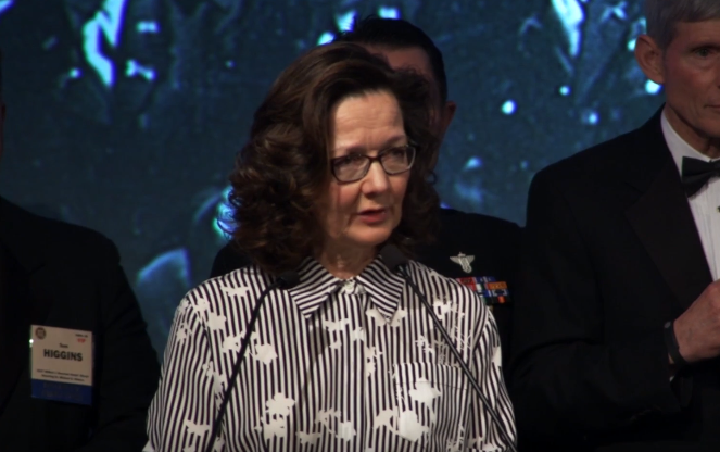 Incoming CIA director Gina Haspel delivers remarks at the 2017 William J. Donovan Award Dinner in Washington DC