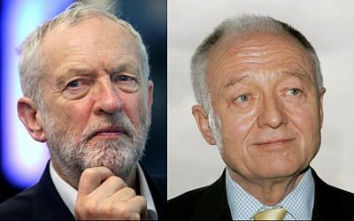 Composite image of the leader of Britain's Labout Party Jeremy Corbyn (L) seen on March 9, 2018 and former London Mayor Ken Livingstone seen March 18, 2008. (AP)
