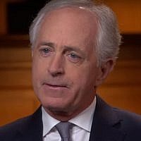 "Bob Corker talks to Margaret Brennan on the CBS network's ""Face the Nation,"" March 18, 2018. (Screenshot)"