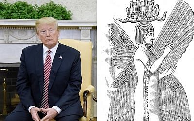 US President Donald Trump in the White House, February 9, 2018, and an illustration of Cyrus the Great. (Getty images/Wikimedia Commons via JTA)