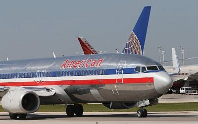 An American Airlines jet taxis at O'Hare International Airport in Chicago (Scott Olson/Getty Images via JTA)