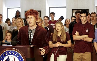 Ryan Deitsch speaking at the Florida State Capitol building in Tallahassee, February 21, 2018. (Don Juan Moore/Getty Images via JTA)