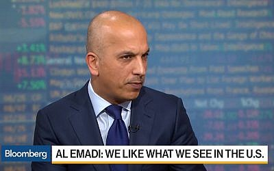 Qatari Finance Minister Ali Sharif Al Emadi interviewed on Bloomberg TV on April 24, 2017. (Screen capture: Bloomberg TV)