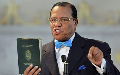 Louis Farrakhan speaking at a news conference at the Mosque Maryam in Chicago, March 31, 2011. (Scott Olson/Getty Images via JTA)