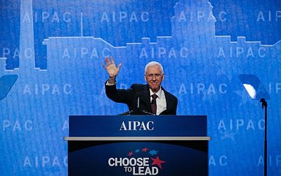 AIPAC President Mort Fridman addressing participants at the AIPAC Policy Conference in Washington, DC, on March 4, 2018. (AIPAC via JTA)