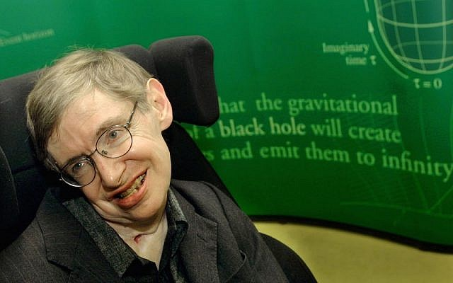 399485 01: Physicist Stephen Hawking smiles during a symposium in honor of his birthday at the University of Cambridge January 11, 2002 in Cambridge, England. (Sion Touhig/Getty Images, via JTA)