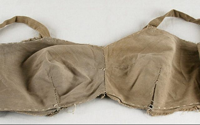 The bra that survivor Lina Beresin made herself in the Stutthof camp. Beresin's story is featured in the 'Spots of Light' exhibit. (Yad Vashem)