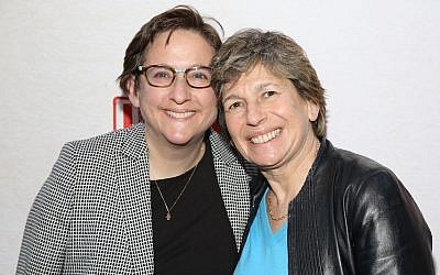 Rabbi Sharon Kleinbaum and Randi Weingarten attend the Broadway Opening Night Performance of 'Indecent' at The Cort Theatre on April 18, 2017 in New York City.  (Walter McBride/WireImage via JTA)