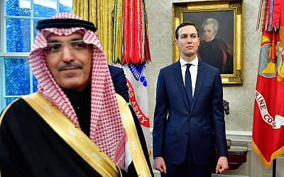 Jared Kushner alongside a member of the Saudi delegation at a White House meeting between President Donald Trump and Crown Prince Mohammed bin Salman of Saudi Arabia, March 20, 2018. (Kevin Dietsch/Pool/Getty Images via JTA)