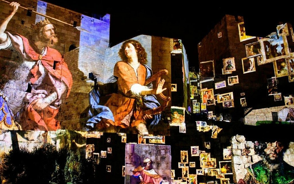 Details from A Virtual Tour of the Great Works of Art Inspired by King David scene in new Tower of David King David Night Experience, March 2018 (Naftali Hilger)