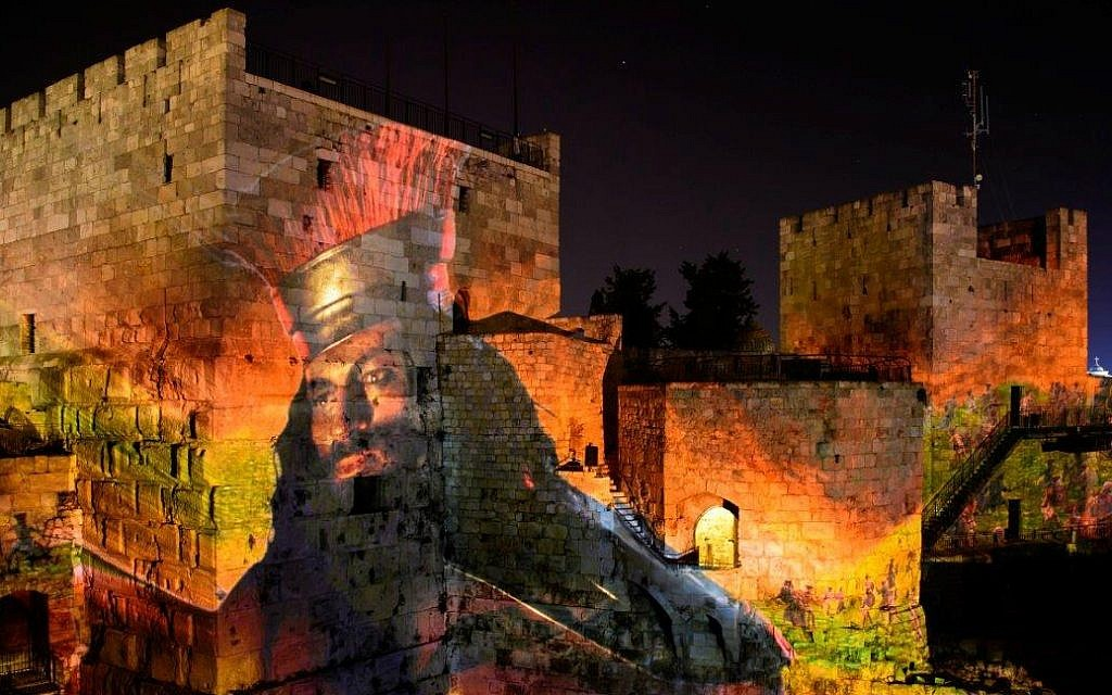 Detail from David and Goliath scene in new Tower of David King David Night Experience, March 2018 (Naftali Hilger)