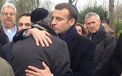 French President Emmanuel Macron at the funeral for murdered Holocaust survivor Mirelle Knoll, March 28, 2018. (Abraham Ben Isaac/Twitter, via JTA)