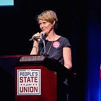 Cynthia Nixon speaking in New York City, Jan. 29, 2018. (Roy Rochlin/Getty Images)