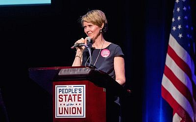 Cynthia Nixon speaking in New York City, January 29, 2018. (Roy Rochlin/Getty Images via JTA)