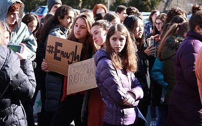 Students at the Golda Och Academy in West Orange, New Jersey, taking part in a walkout in honor of the victims of the Parkland, Florida school shooting, March 14, 2018. (Courtesy of Golda Och Academy)