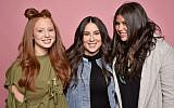 From left to right: Jackie Oshry, Claudia Oshry and Olivia Oshry at the Beautycon Festival in New York, May 20, 2017. Their sister Margo, not pictured, runs a food-focused Instagram account. (Kris Connor/Getty Images for Beautycon via JTA)