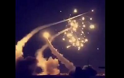 A screen capture from a video claiming to show Saudi missile interceptors shooting down a missile over Riyadh on March 26, 2018. (Screen capture: Twitter)
