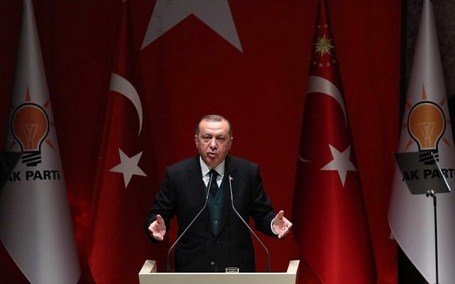 Turkish President Recep Tayyip Erdogan makes a speech during Turkey's ruling Justice and Development (AK) Party's provincial chairmen meeting at the party headquarters in Ankara, March 30, 2018. (ADEM ALTAN/AFP)